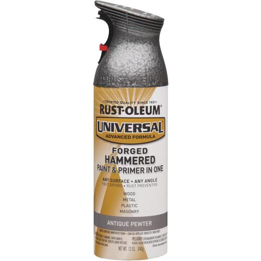 Rust-Oleum Universal 12 Oz. Hammered Gloss All-Surface Spray Paint, Antique Pewter
